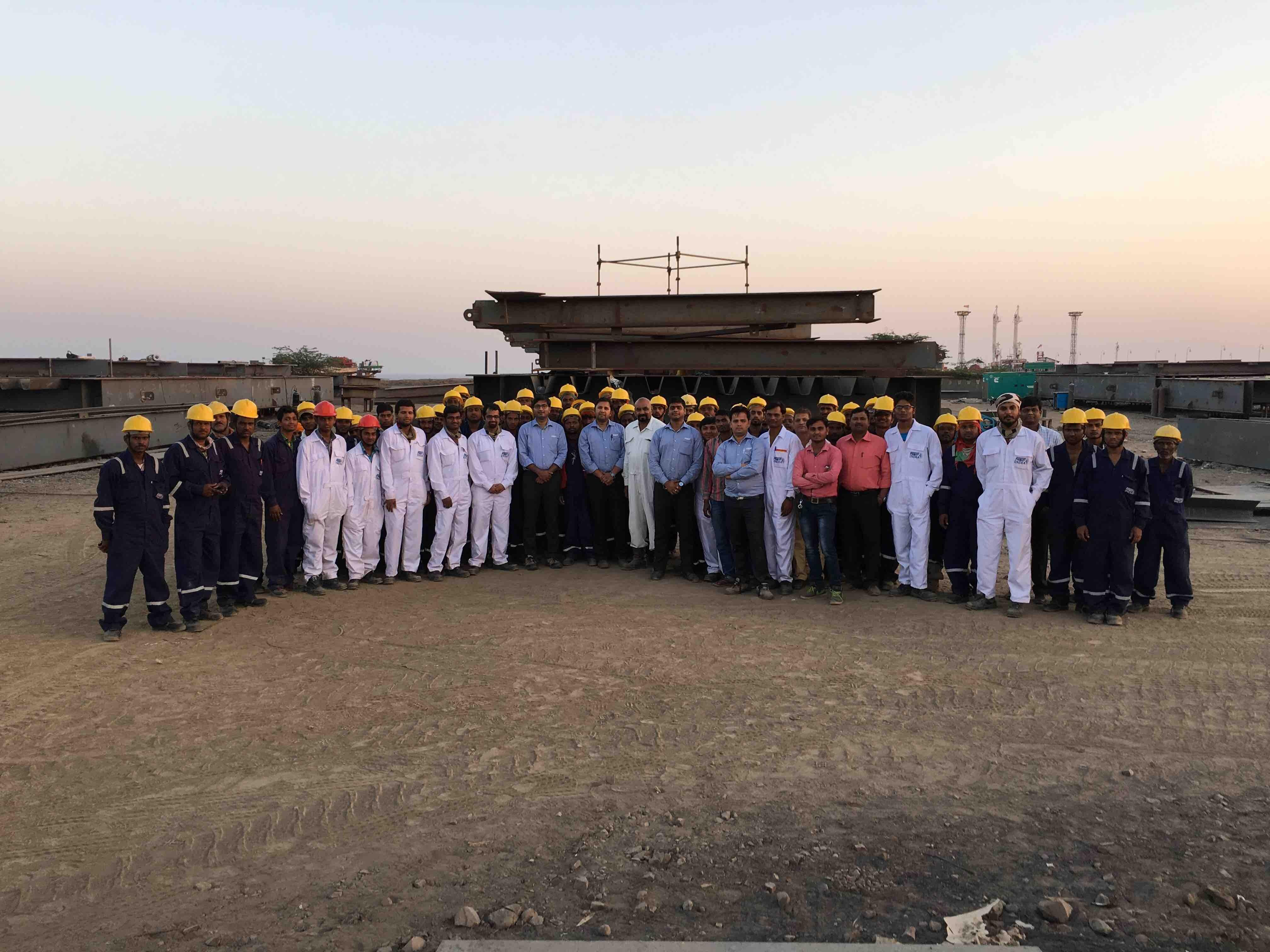 Dahej Project Team in the Field with AT&F India Field Fabrication Team